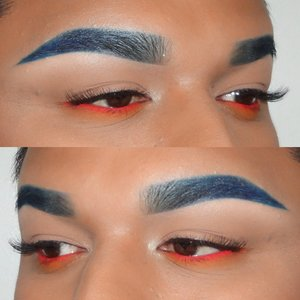 I chose to do this because I love playing with color. I did blue eyebrows because I ran out of my dipbrow. And decided to do orange on my bottom lash line to compliment the blue. (Color wheel)