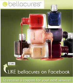 Get $15 off your service at Bellacures Nail Salon!  Check it out here:  https://www.facebook.com/Bellacures?sk=app_174961479209942