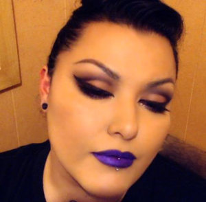 A black & grey cut crease with an intense purple lip