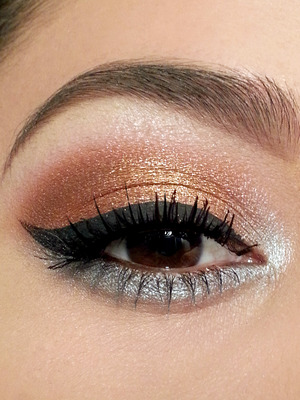 Coastal Scents Hot Pots in Oktoberfest and M07. The gold and silver colors are from a Jazz-Z Eyeshadow Palette. If you can't find Jazz-Z, the Coastal Scents 88 Palette has pretty close dupes.
