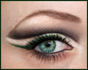 a neutral look with an extreme winged cut crease and a pop of color with the green eyeliner. To see the products used, visit my makeupbee.com profile http://www.themakeupbee.com/look_Nonchalant_3748