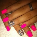 Gorgeous Hot Pink Nails with Bling Accent.