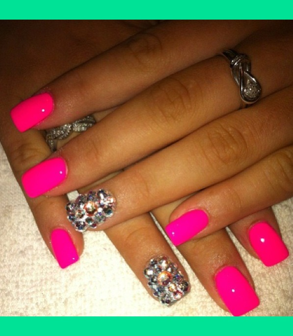 Gorgeous Hot Pink Nails with Bling Accent. | Stephanie K ...