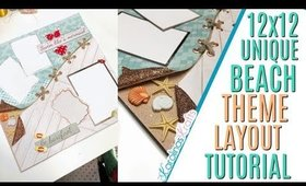 Beach Themed 12x12 Layout Tutorial, a Unique 12x12 Layout for the Beach