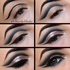 Step by step: 1. Outline crease with a black pencil liner (MAC's Smolder) 2. Blend out with a matte black eyeshadow (MAC Carbon using #228 & #217 brushes) 3. Apply winged liner (MAC Blacktrack) 4. Apply a glitter adhesive (Toofaced glitter glue) and a gold glitter (Makeup Forever #11 glitter) 5. Line bottom lash line with the same pencil liner & eyeshadow, and apply lashes & mascara (MAC #48 lashes) 6. All done! <3