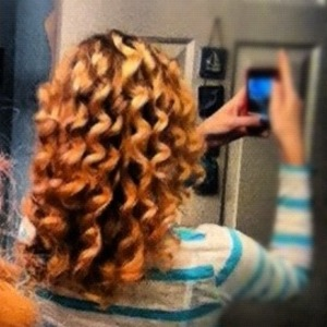 1 inch curling iron on about every 1 1/2 inch piece of hair