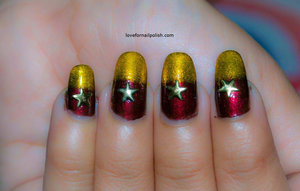 Detail Tutorial http://lovefornailpolish.com/red-gold-nail-art-easy-to-do-nails-at-home-for-christmas