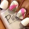 White, silver and pink nail art