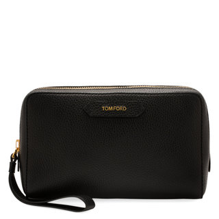 Medium Leather Cosmetic Bag Black