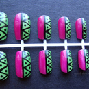 Pink and green tribal inspired set