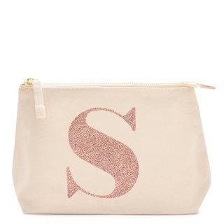 Rose Gold Glitter Initial Makeup Bag Letter S