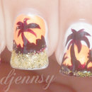 Glittery Palm Tree Nail Art