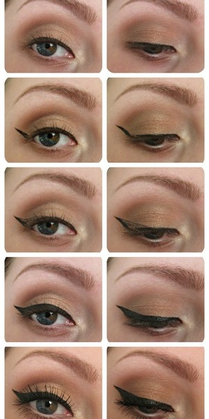 1) Draw a line that folows your eye 2) Draw a line that follows your lower lashlines line 3)Connect those two 4) Thicken it to the way you want it 5) Mascara and done :)