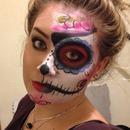 Half sugar skull make up