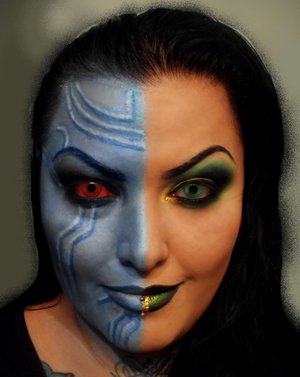 half face of each Frost Giant and Lady Loki from Marvel's THOR