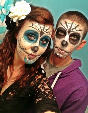 Did my baby's and I's makeup for Halloween last year! ☺💕