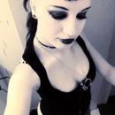 Black shadow and lipstick