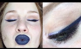 Navy Blue Eyeliner w/ Metallic Lilac Accents | EYE MAKEUP (easy) | Lillee Jean