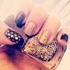 navy and gold, polka dot nails! perfect for fall!