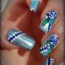 Blue Roses Holo Nails