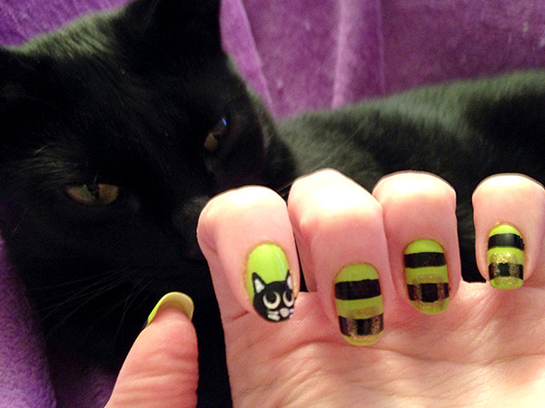 Halloween Nail Art: Witchy Belt + Kitty