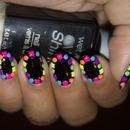 Neon Studded Border Nails