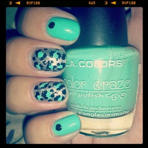 teal and silver nails with leopard print and polkadot accents!