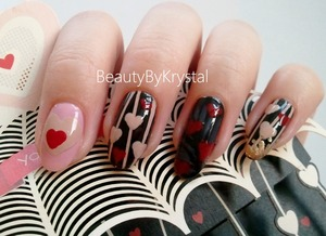 """Hallmark inspired Valentine's Day nails """"You & Me"""" <3 Polishes listed, full card photos: http://www.beautybykrystal.com/2013/02/hallmark-valentines-day-nail-collab-you.html"""