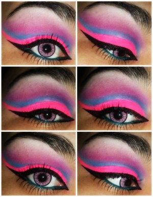 Products used: UD Antiaging Primer NYX Pencil in milk MYOmakeup Pigment-Neon Pink Sleek Acid palette Physicians formula 2-in-1 Eyebooster Liner Milani Metallic blue liner Clinique lash doubling mascara!