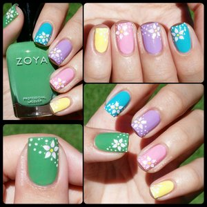 I used Zoya Josie, OPI Can't Find my Czechbook, Face Shop PP401, OPI Pinking of You, and China Glaze Lemon Fizz.