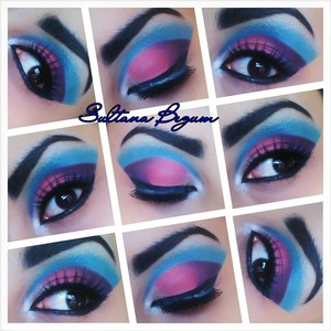 Pink and Blue dramatic eyes.