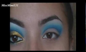 Blue/Gold Cut Crease Makeup Tutorial