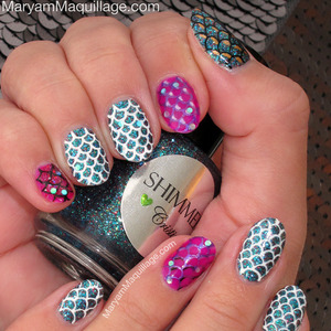 hand-painted, never stamped :) details & how-to: http://www.maryammaquillage.com/2013/03/pisces-scales-nails.html
