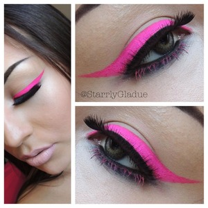 Products used: MAC Cosmetics 'magenta madness' pigment mixed with fix+ for the liner, 'blacktrack' liner in the waterline smudged out with 'carbon' shadow, Revlon 'double wink' lashes and Anastasia Beverly Hills 'in the pink' brow & lash tint.  Facebook: Makeup by Starrly Instagram & Twitter: @StarrlyGladue