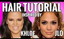 Half Up Half Down Hairstyles Tutorial Inspired By Khloe Kardashian & Jennifer Lopez