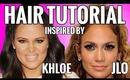 Half Up Half Down Hairstyles Tutorial Inspired By Khloe Kardashian & Jennifer Lopez