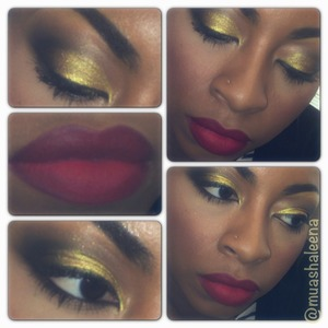 MAC Old Gold Pigment and RiRi Woo lipstick   Follow me on Instagram for more makeup pics @muashaleena
