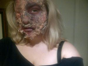 taken from BB- Halloween Makeup; I made kids cry- literally. *I didn't have the fake blood on at that time* It looked MUCH better in person.