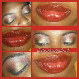 Gold smokey eye with a pop of black and red and a red lip using Mac's Ruby Woo lipstick.