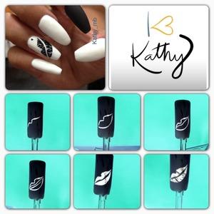 Step by step , lips , stiletto nails