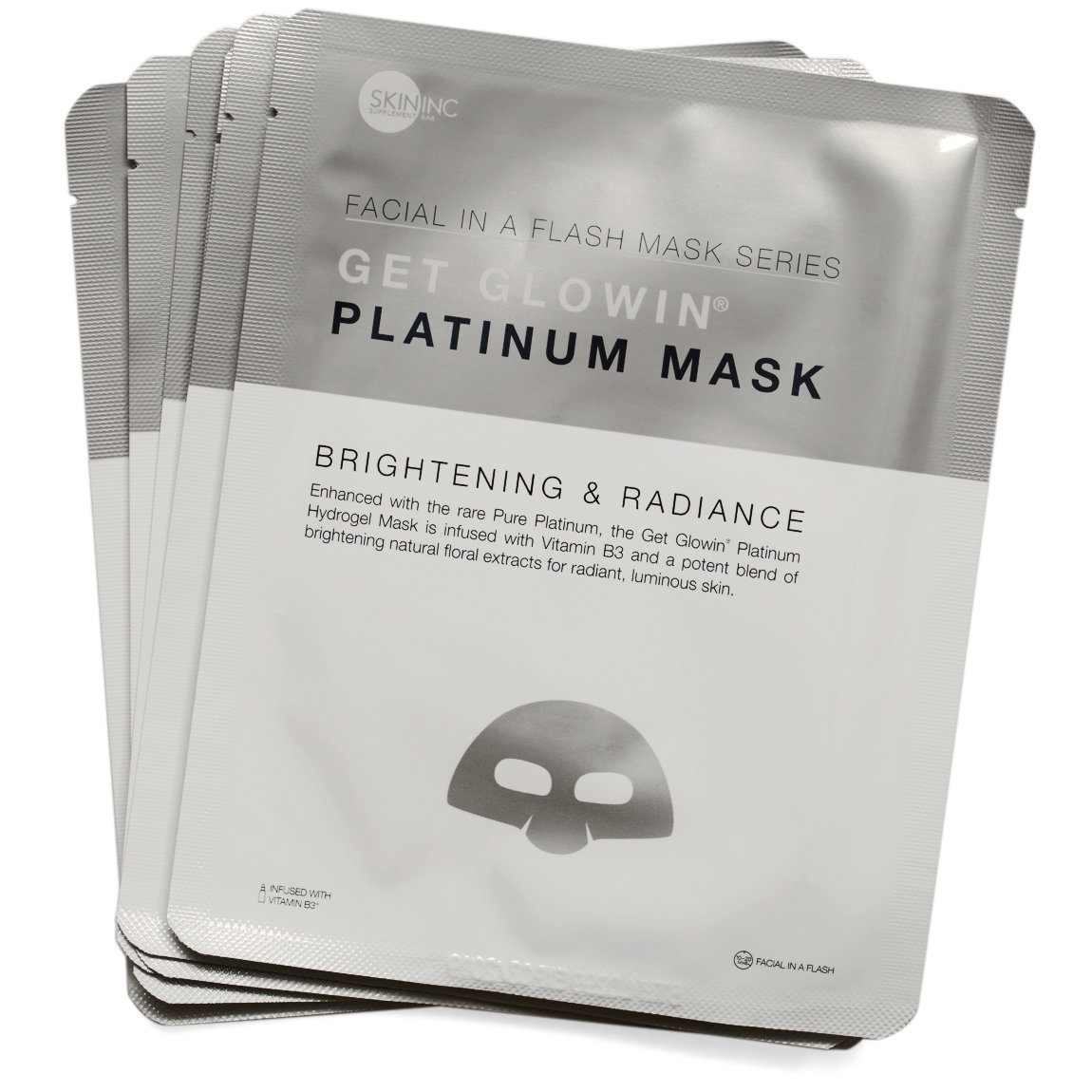 Skin Inc Supplement Bar Facial In-A-Flash Get Glowin Platinum Mask 3-Pack product swatch.