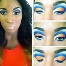 Blue & orange cut crease