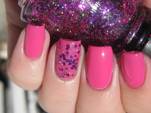 China Glaze Rich and Famous with Icing Glitteratti layered on ring finger!