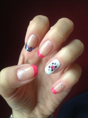 Bright pink tips with accent nails