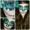 Last minute Halloween SugarSkull makeup & hair tutorial!
