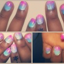 Pink-Purple-Blue Sponge Nail Polish