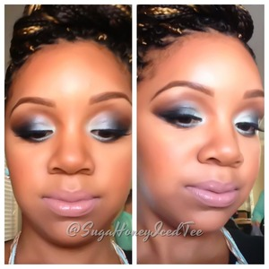 Black on the outer corners, mint n the inner corners and dark brown in crease to blend.