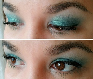 Smashbox cream shadow - Neptune & MAC Steamy <3 http://www.beautybykrystal.com/2012/10/fotd-103012.html
