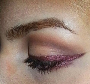 Look created using Kat Von D's new matter palette. Liner was a black cream liner with a shimmery reddish brown shadow on top.
