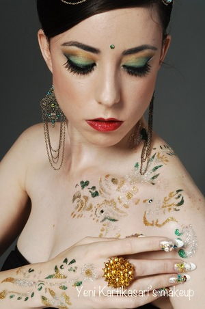 Body jewelry tattoo, hair, makeup & nail design by Me